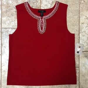 🆕 Cable & Gauge Red Front Keyhole Beaded Top
